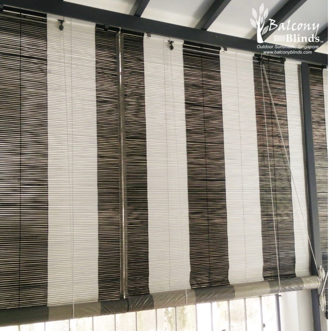 Colonial Style Black White Bamboo Blinds Everything Else On Carousell