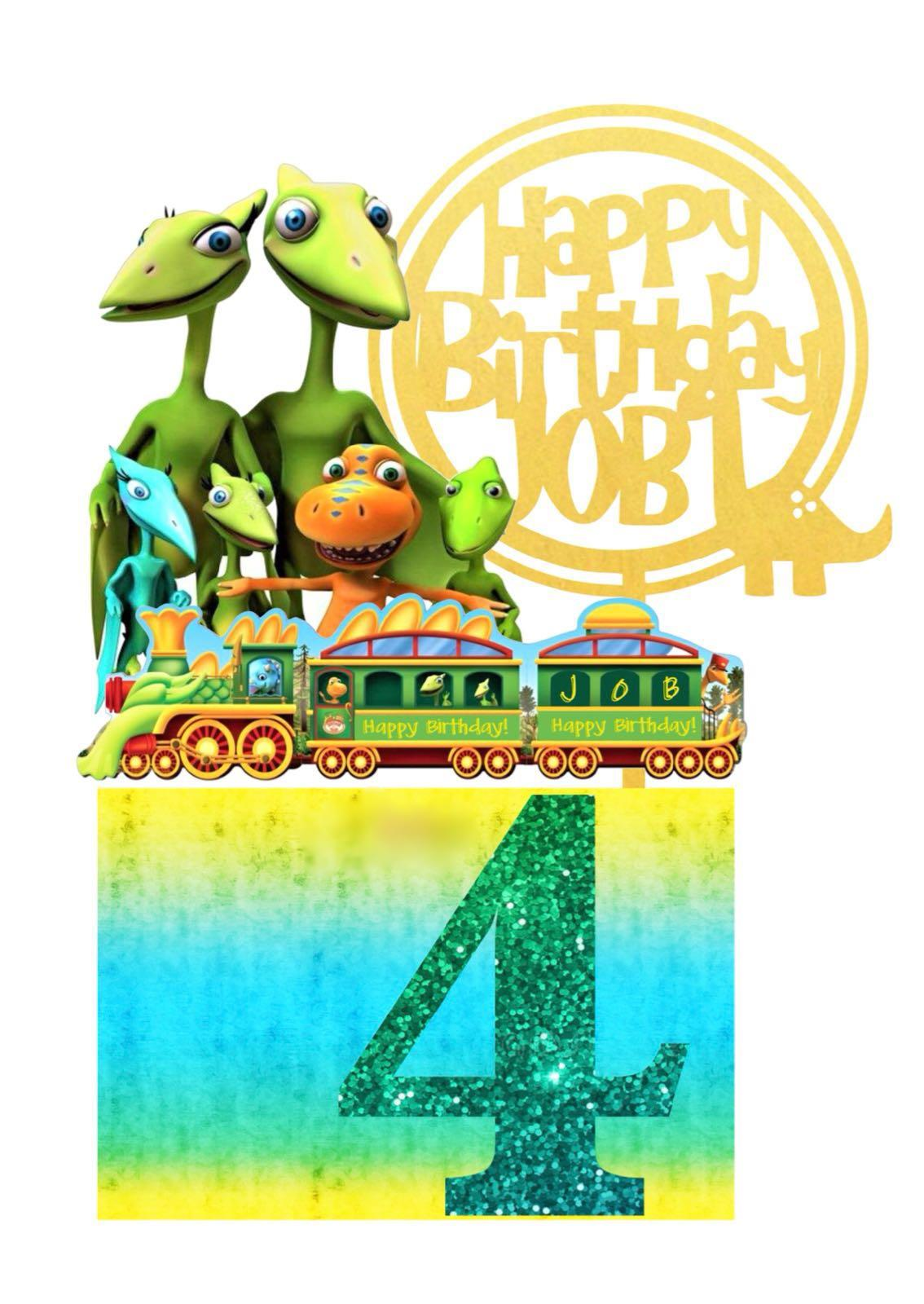 Amazing Dinosaur Train Birthday Cake Topper Set Design Craft Handmade Funny Birthday Cards Online Alyptdamsfinfo