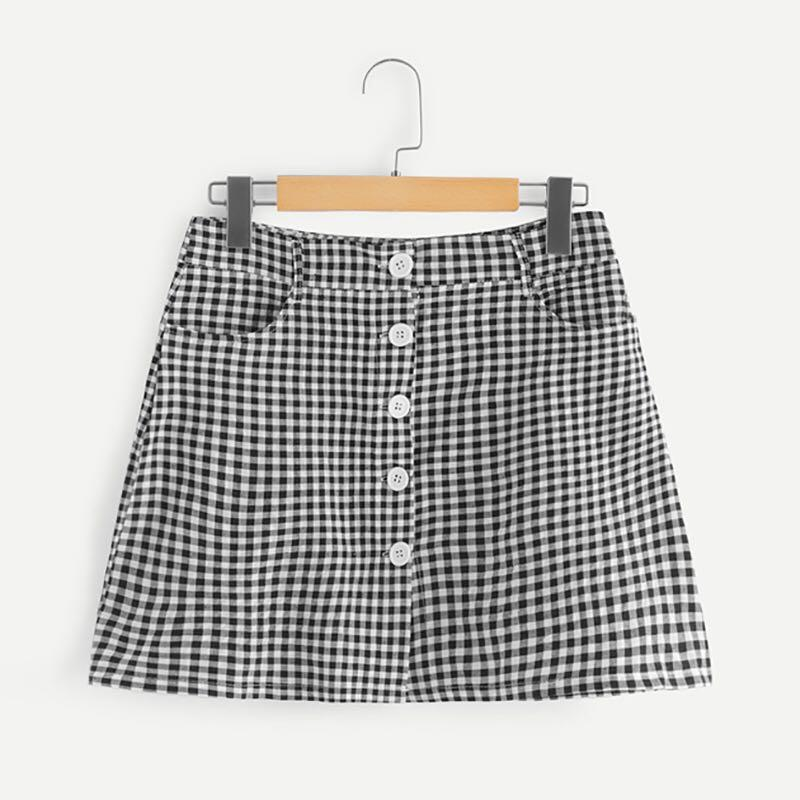 Gingham print button up high waisted black and white skirt