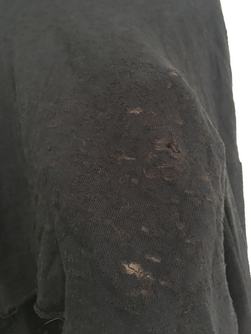 Grunge black cropped hoodie