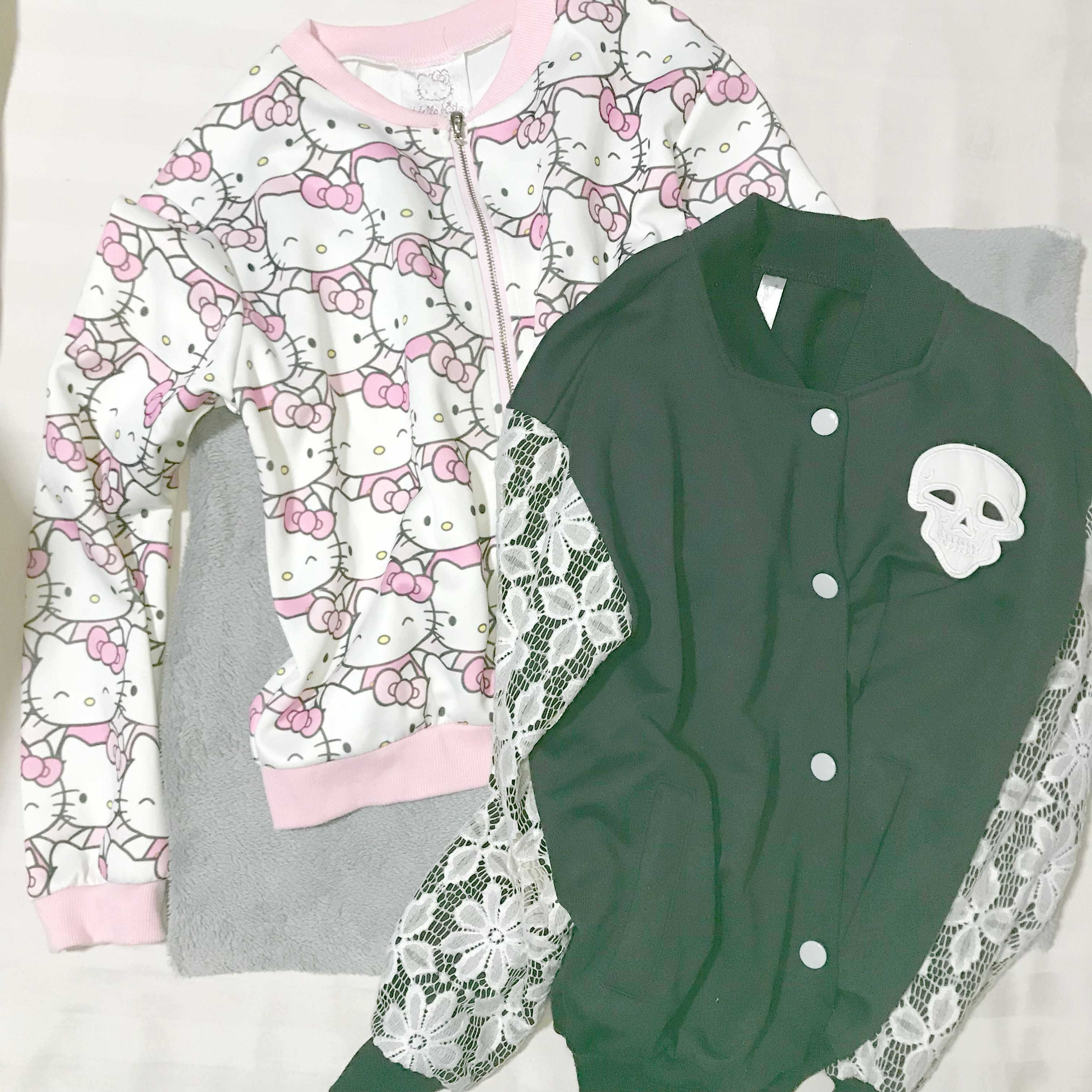 036b1d04c Hello Kitty . Skull Lace Pink Black White Bomber Jacket S Each
