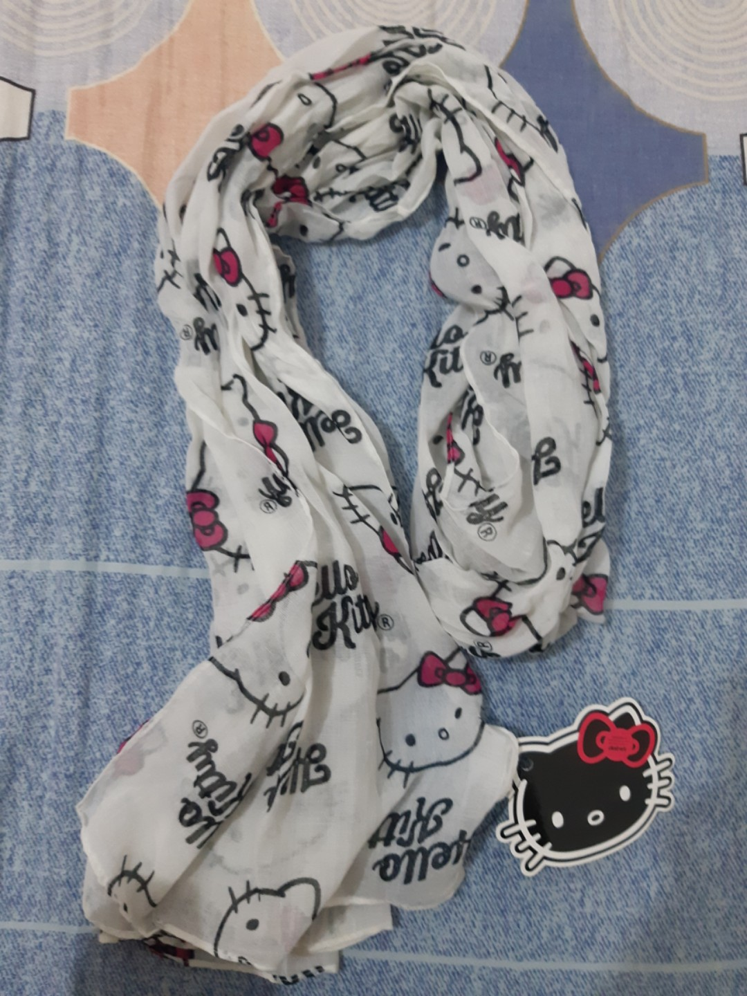 88e33585a Hello Kitty Shawl, Women's Fashion, Accessories, Scarves & Shawls on  Carousell