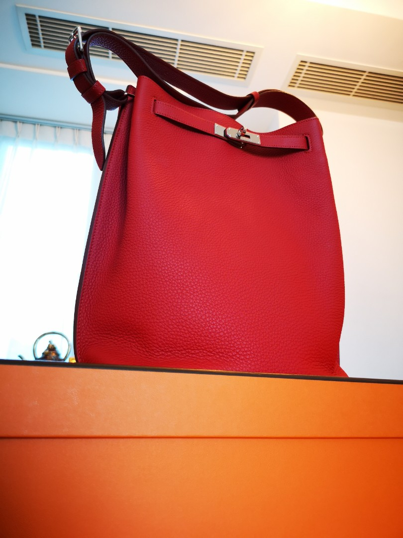 dd97af66f45a Hermes So Kelly Vermillion Red Togo Leather Shoulder Bag