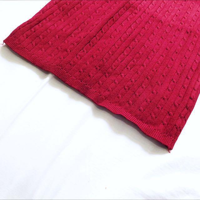 Maroon Knit Mini Skirt