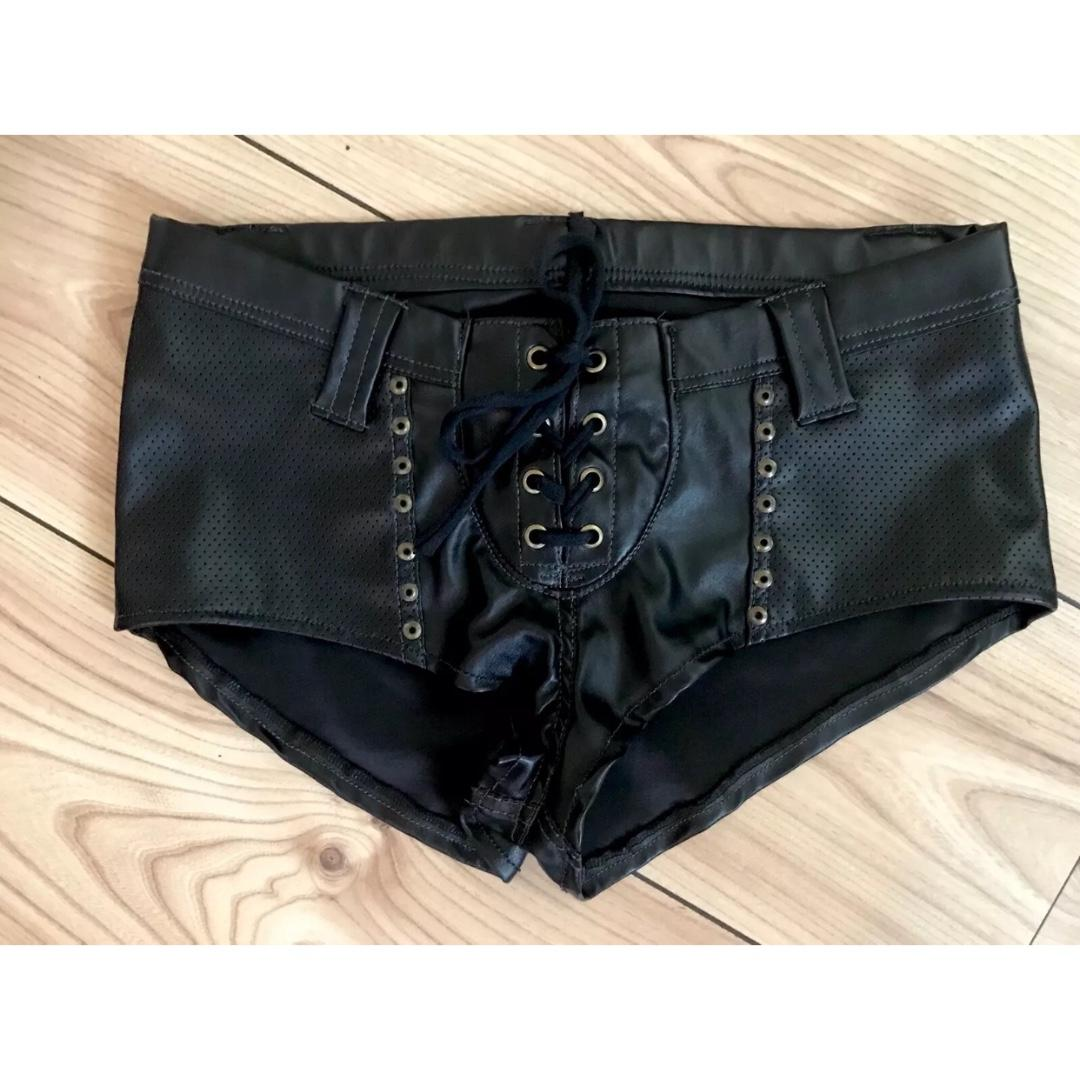 Painkiller Clothing Sexy Studded Leather Lace Up Shorts