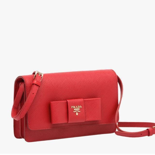 Prada Saffiano Lux Bow Crossbody RED ec61c726d506a