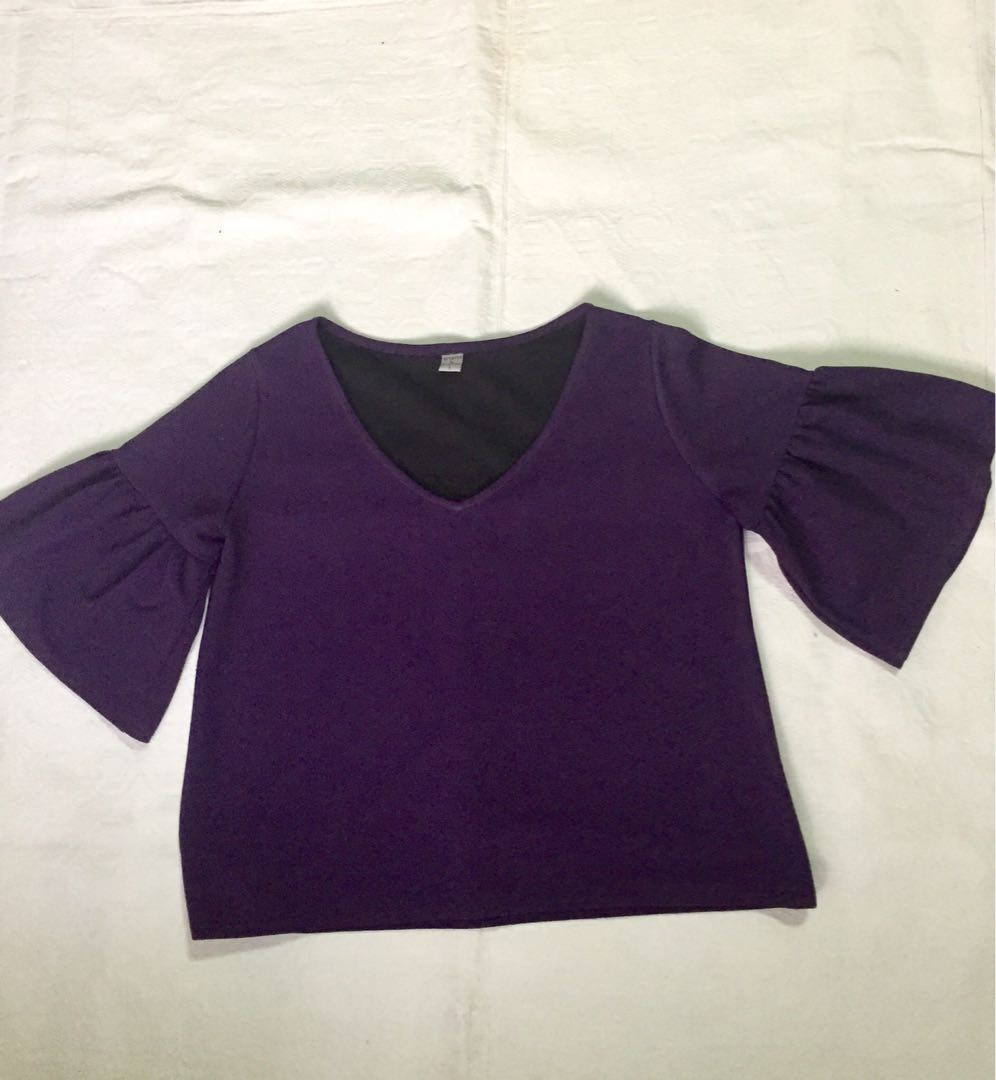 332714026d7798 Purple Bell Sleeve Top, Women's Fashion, Clothes, Tops on Carousell