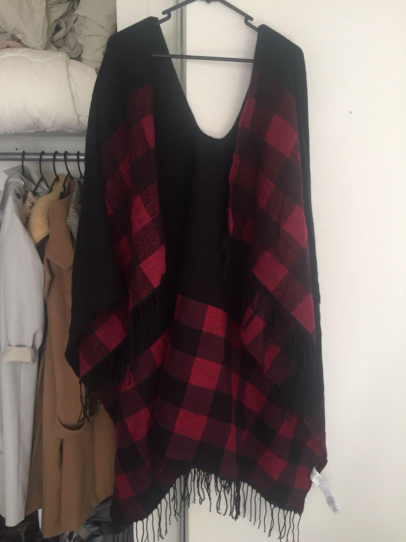 Red and Black Cotton On Poncho Cardigan