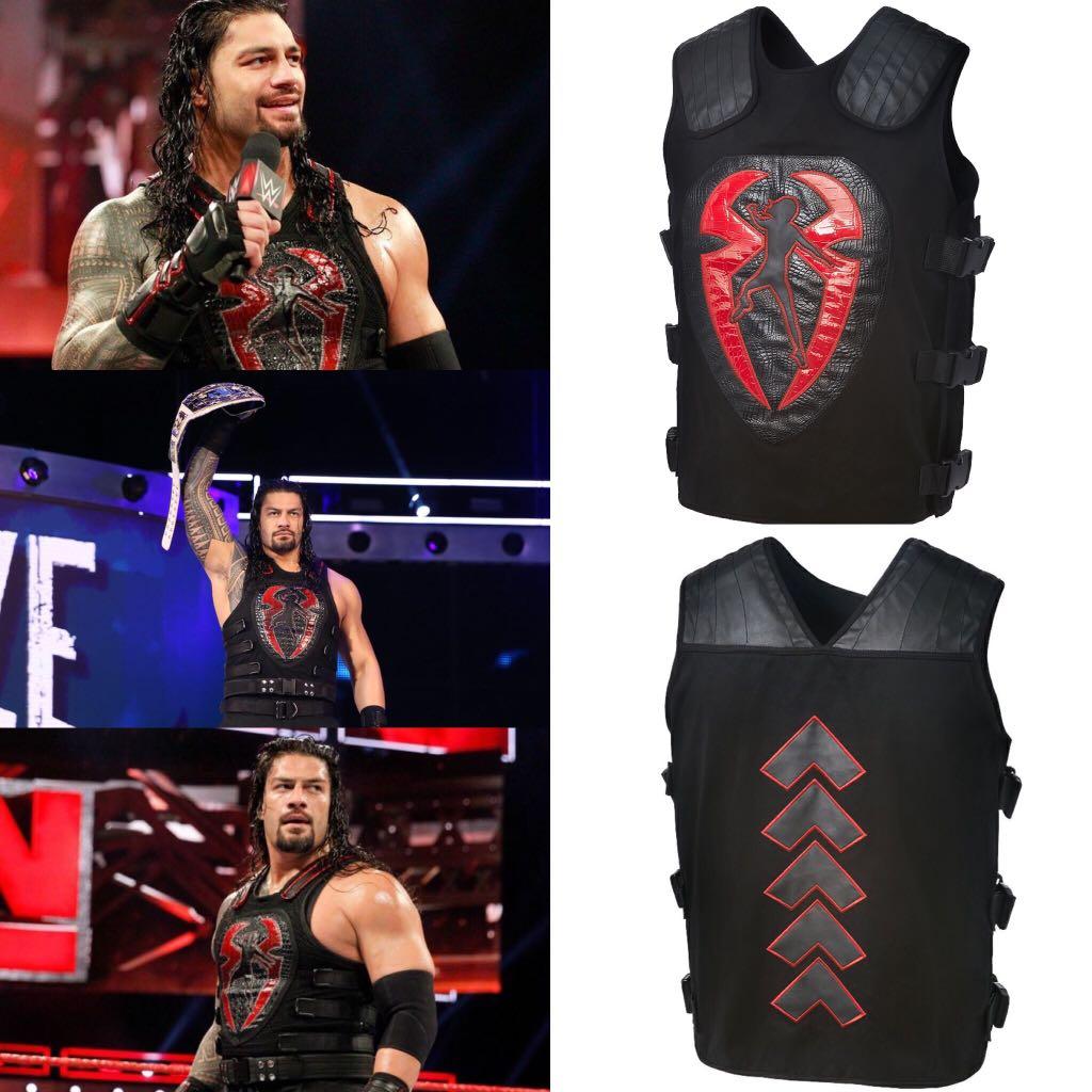 3cc5b12f3121b Roman Reigns Red Black Vest Replica WWE Authentic