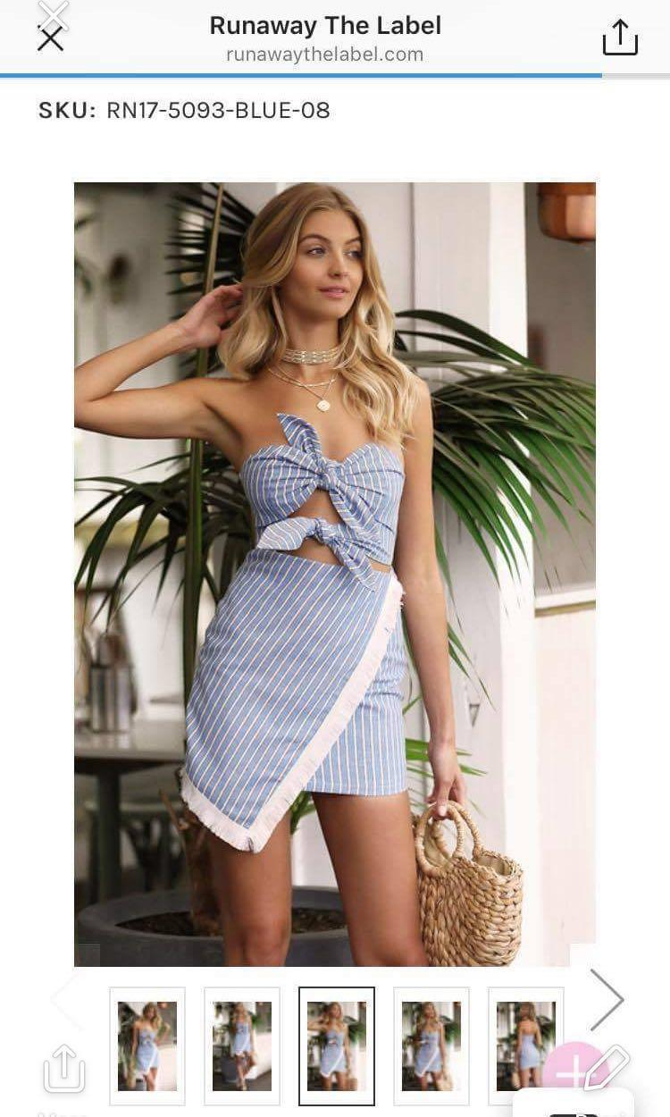 runaway the label dress blue and white stripe tie double front dress