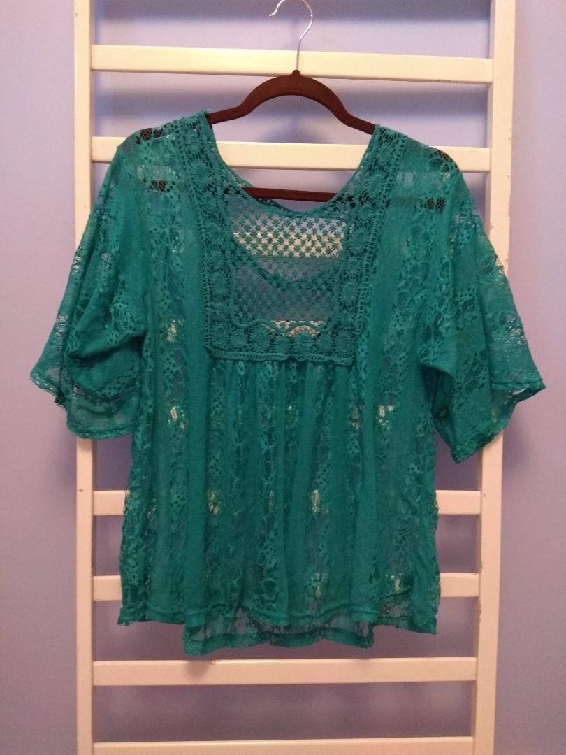 (SET) boho teal top & shorts