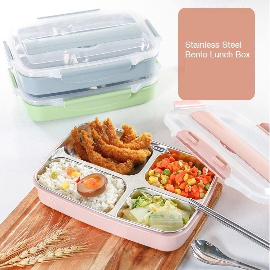 ebb2ffbddc75 Stainless Steel Lunch Box with 4 Compartment BPA Free Microwaveable ...