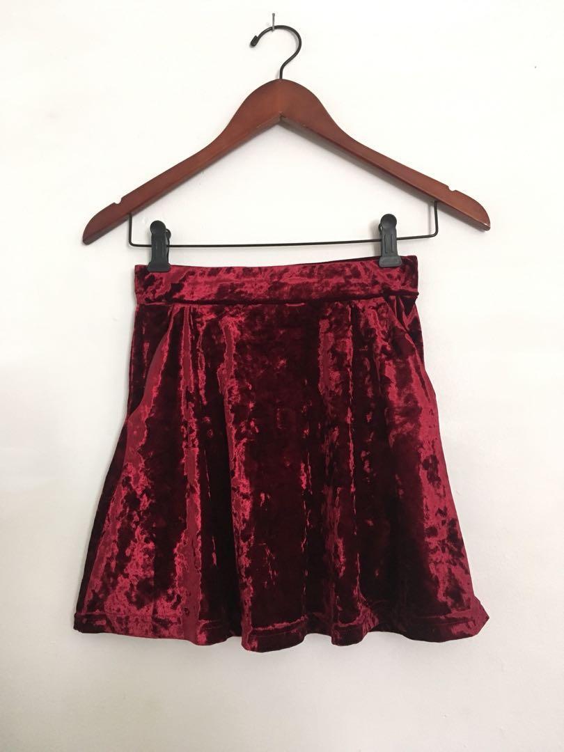 Topshop Petite crushed velvet skirt