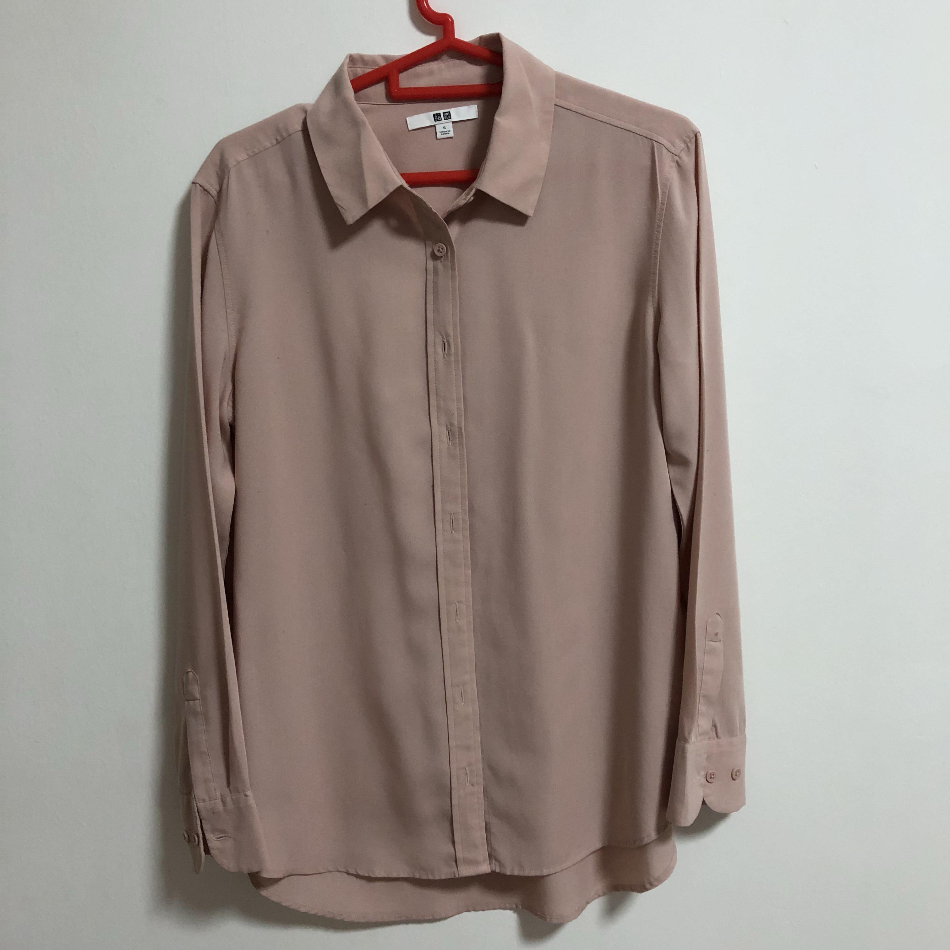 6d509a55 Uniqlo Blush Pink Rayon Button Down Collared Blouse, Women's Fashion ...
