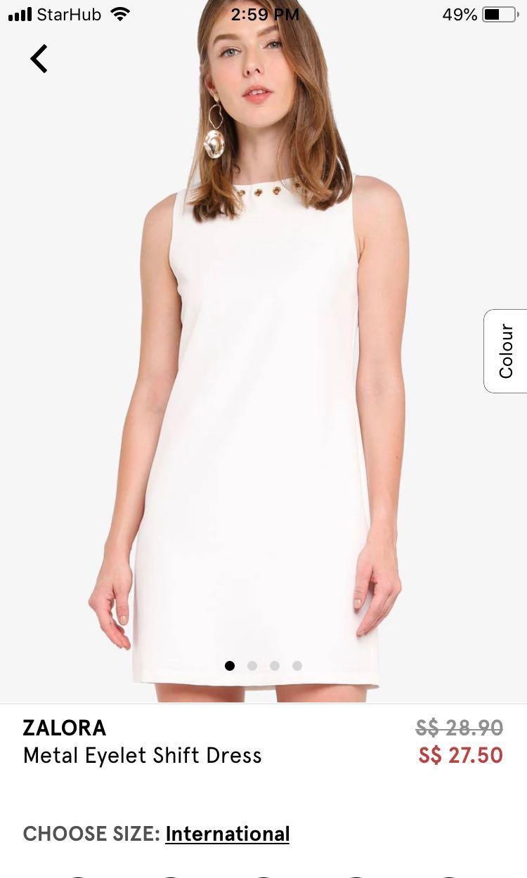 9bfb89eb92 ZALORA Shift white dress