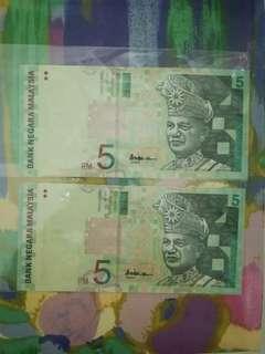 MALAYSIA RM5 10th Series x 2 pcs