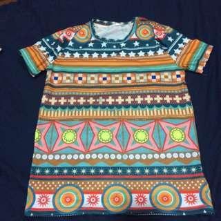🚚 二手 部落 民族 原住民 圖騰 古著 繽紛 手工 原創 布料 創意 市集 繽紛 幾何 t-shirt 彈性 設計師 文創 獨家