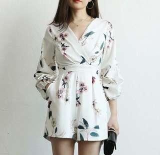 Reduced! [BRAND NEW] White Kimono Floral Romper