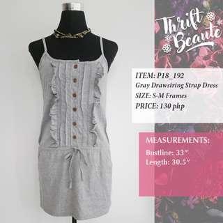Gray Drawstring Strap Dress