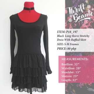 Black Longsleeve Stretchy Dress With Ruffled Skirt