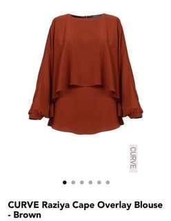 Poplook Curve Raziya Cape Overlay blouse - Brown