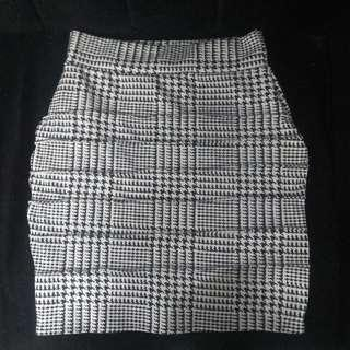 Pencil Skirt Black and White Stripes
