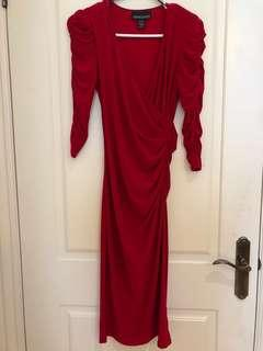Elegant red dress - ankle length