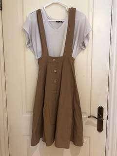 Cute beige overall-dress
