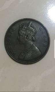 1862 Rare & Nice India One Quarter Old Coin