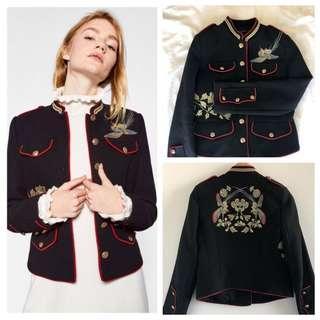 Zara Embroidered Military Bird Jacket - Medium