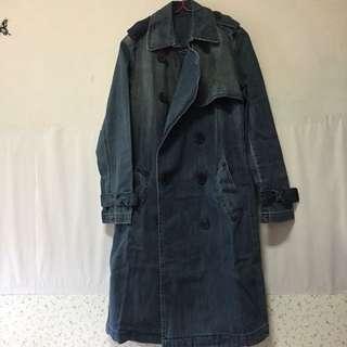 牛仔大衣外套(刷舊深藍)