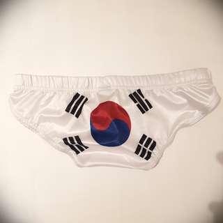 🚚 韓國國旗白色男泳褲 F size