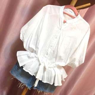 🚚 純白氣質 縮腰 連袖 襯衫 棉花糖女孩 尺寸:F  #九月女裝半價