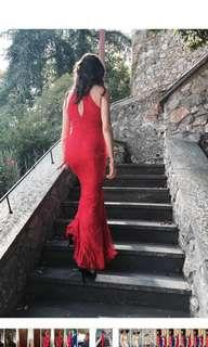 Gorgeous Red Lace Mermaid Gown size Medium