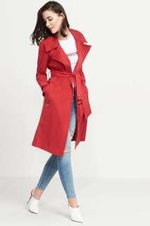 Dynamite Red Long Trench Size S
