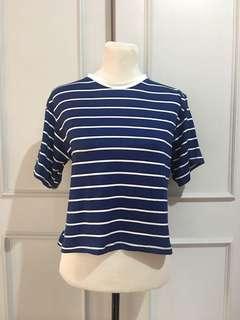 Blue Stripes Boxy Top Freesize