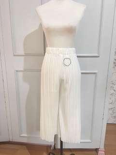 White Pleated Culottes Freesize