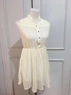 Off White Electric Pleated Short Dress XS-S