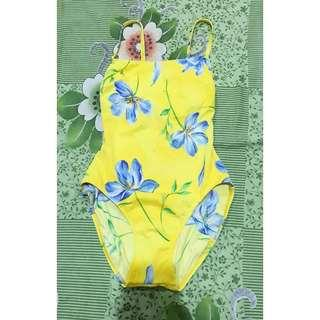 Yellow floral one piece swimwear
