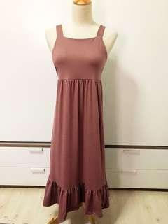 🚚 Dar Dusty Pink Maxi Tie Back Dress