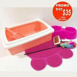 FREE DELIVERY - Welcome Pack Cat/kitten (Ref: Accessories /cat cage /2 tier/ 3 tier/ 4tier / bowl/litter box/litter mat/comb)