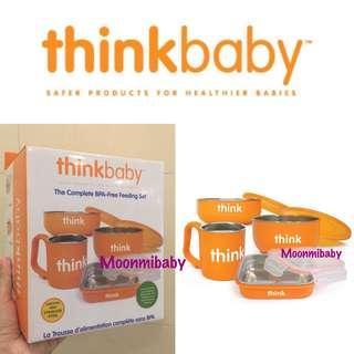 🌸現貨🌸 美國入口一Thinkbaby 安全不鏽鋼餐具套裝 (橙色)