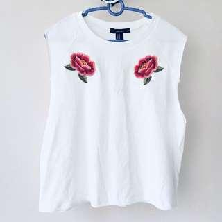 F21 rose embroidery tank top