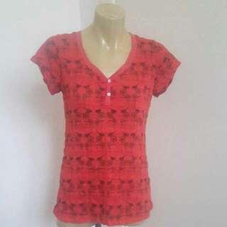 Red Floral & Bird Print Shirt Size Small