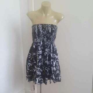 Black & Grey Strapless Dress Size Small