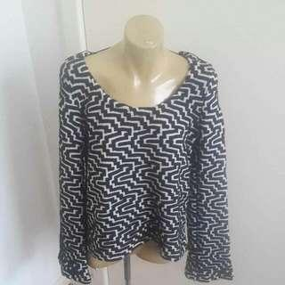 Some Days Lovin Brand Art Deco Geometric Jumper With Flared Sleeves Size S