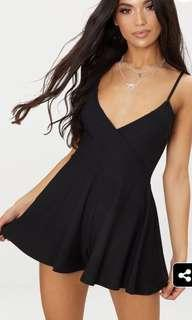PLT - Black Crepe Strappy Wrap Playsuit