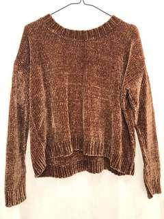 Aerie Chestnut Cropped Chenille Sweater