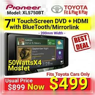 "Pioneer 7"" Touchscreen Bluetooth® Full Featured  DVD/CD/USB Player with  HDMI + Mixtrak+ MirrorLink.( Fits Toyota Cars Only) Model: Avh-XL5750BT (Brand New in box and sealed) Usually Price: $899 Special: $499"