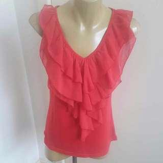 Temt Brand Red Fashion Short Sleeve Business Top Size L